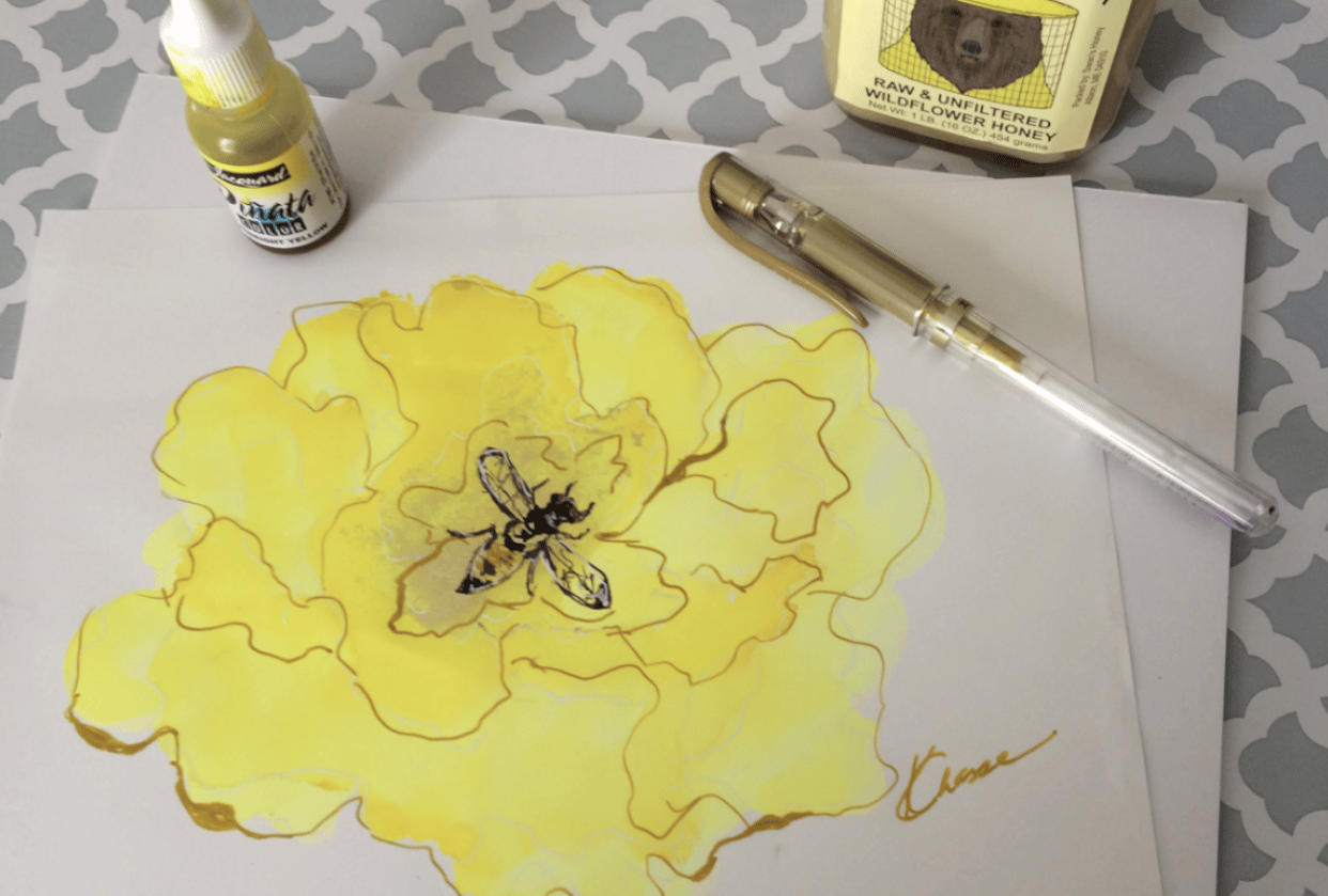 Flower Doodle with a little Bee! - student project