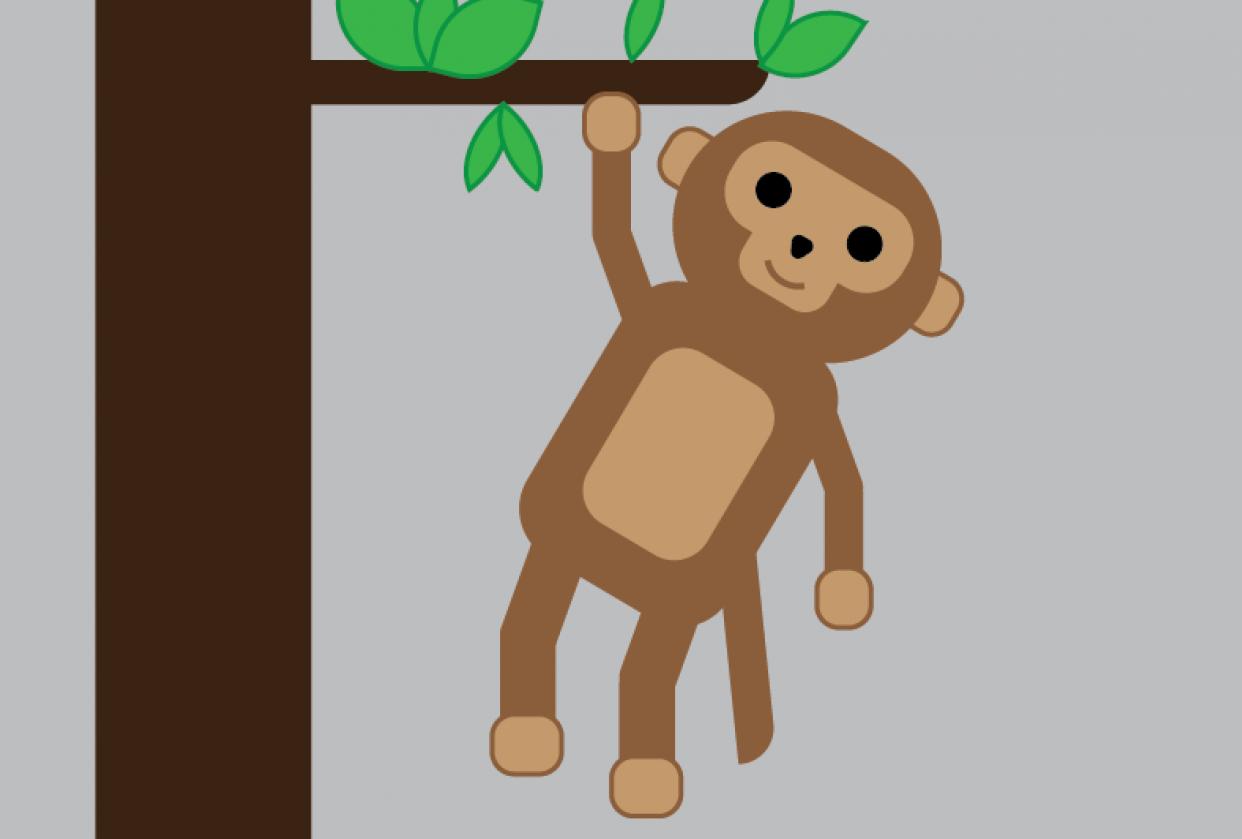 Monkey - Basic shapes Illustration - student project