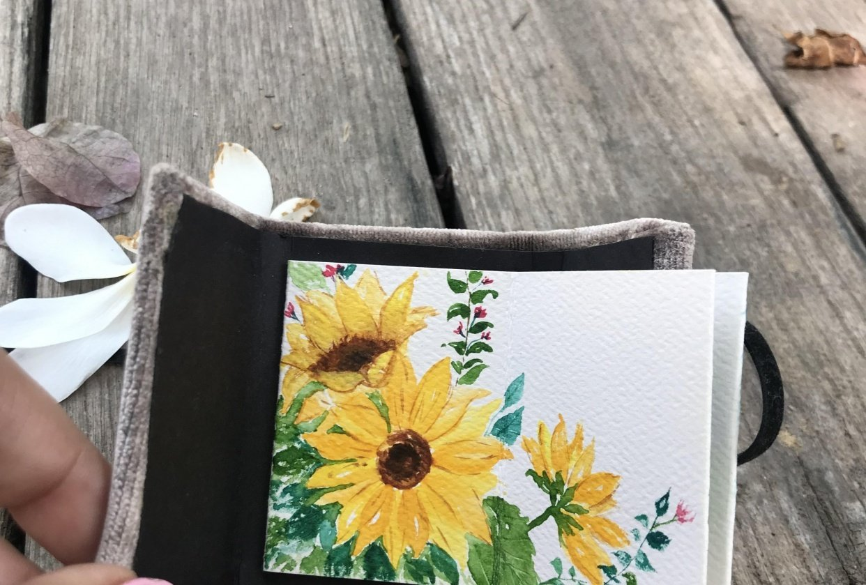Watercolour sunflower - student project