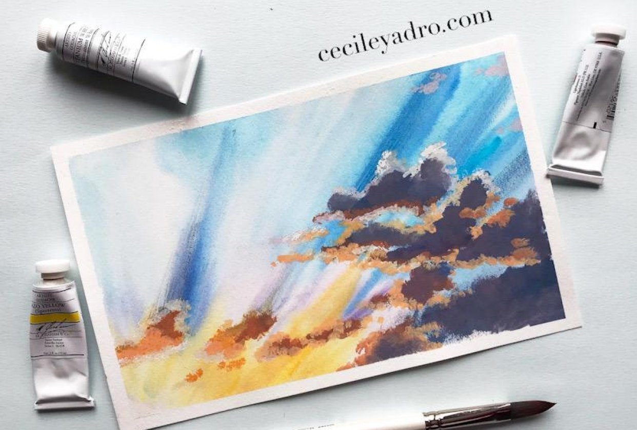 Gouache clouds - student project