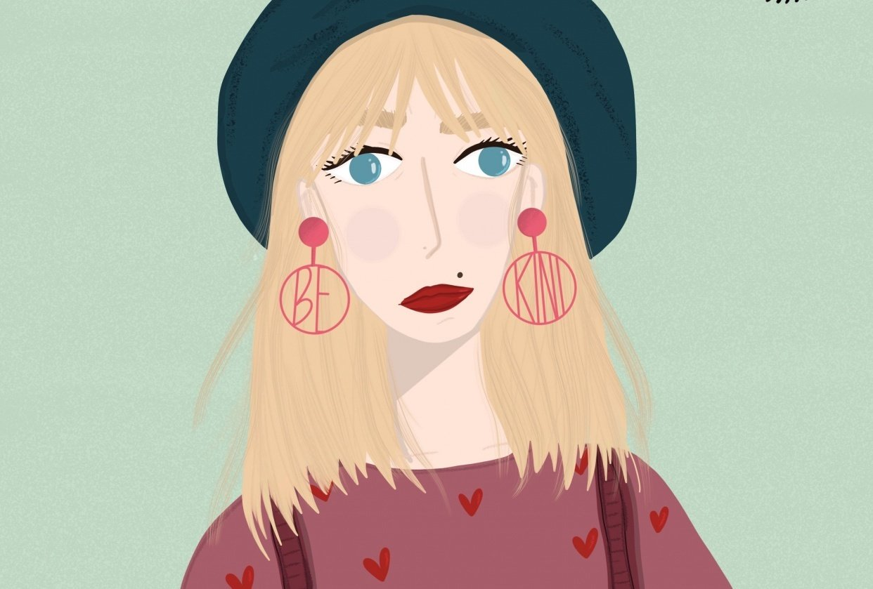 Fun with faces: kindness - long hair - earrings - student project