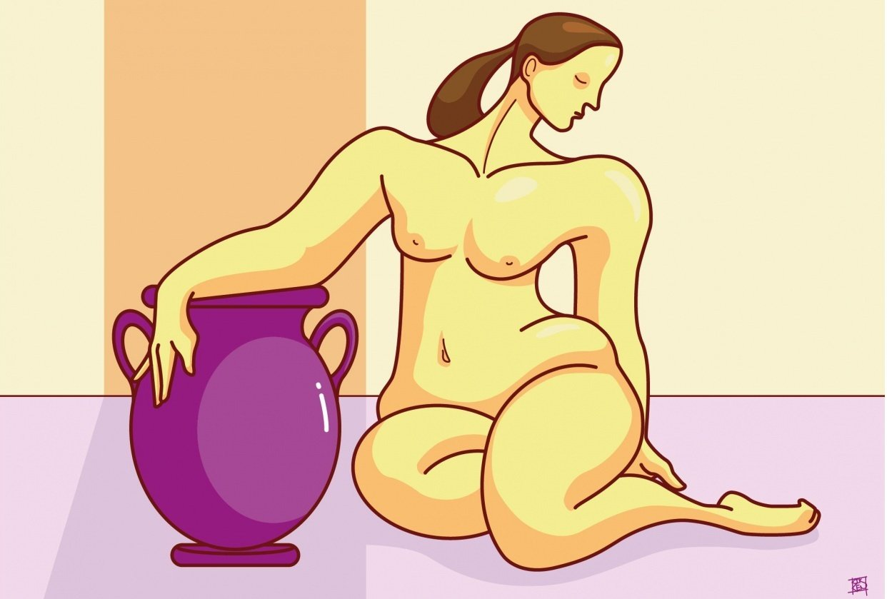 Woman with vase - student project
