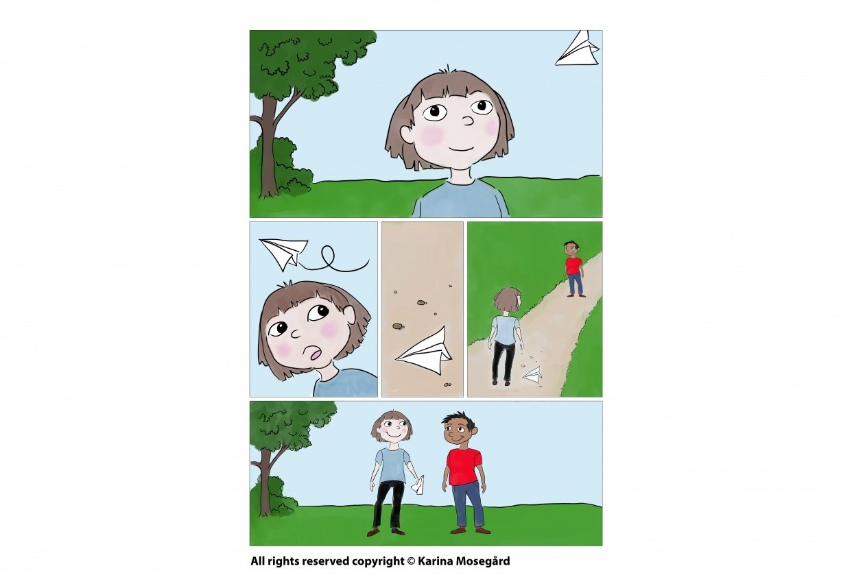 """""""The paper airplane"""" Mini comic, one page, digital drawing in Clip Studio Paint - student project"""