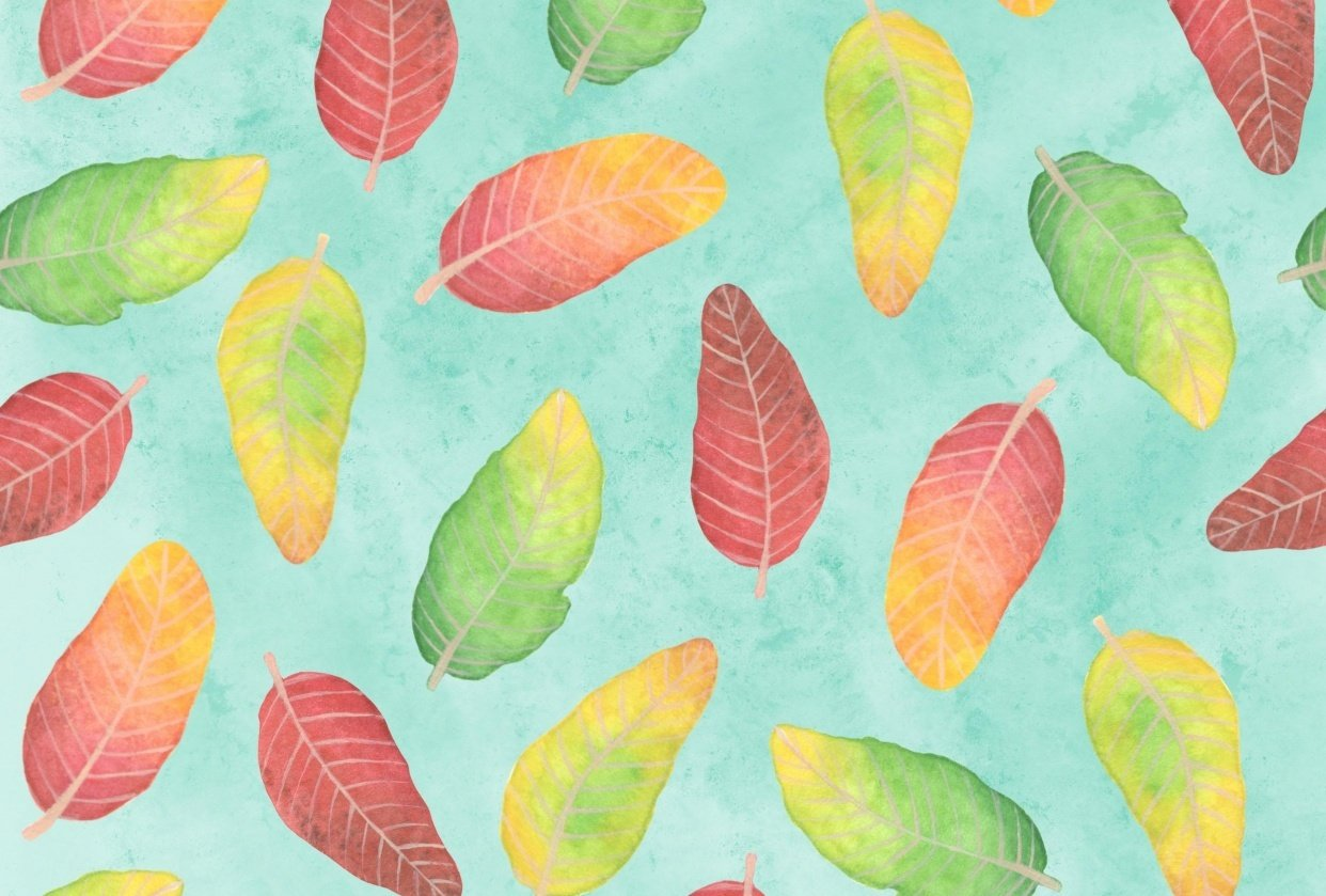 Watercolor leaves. - student project