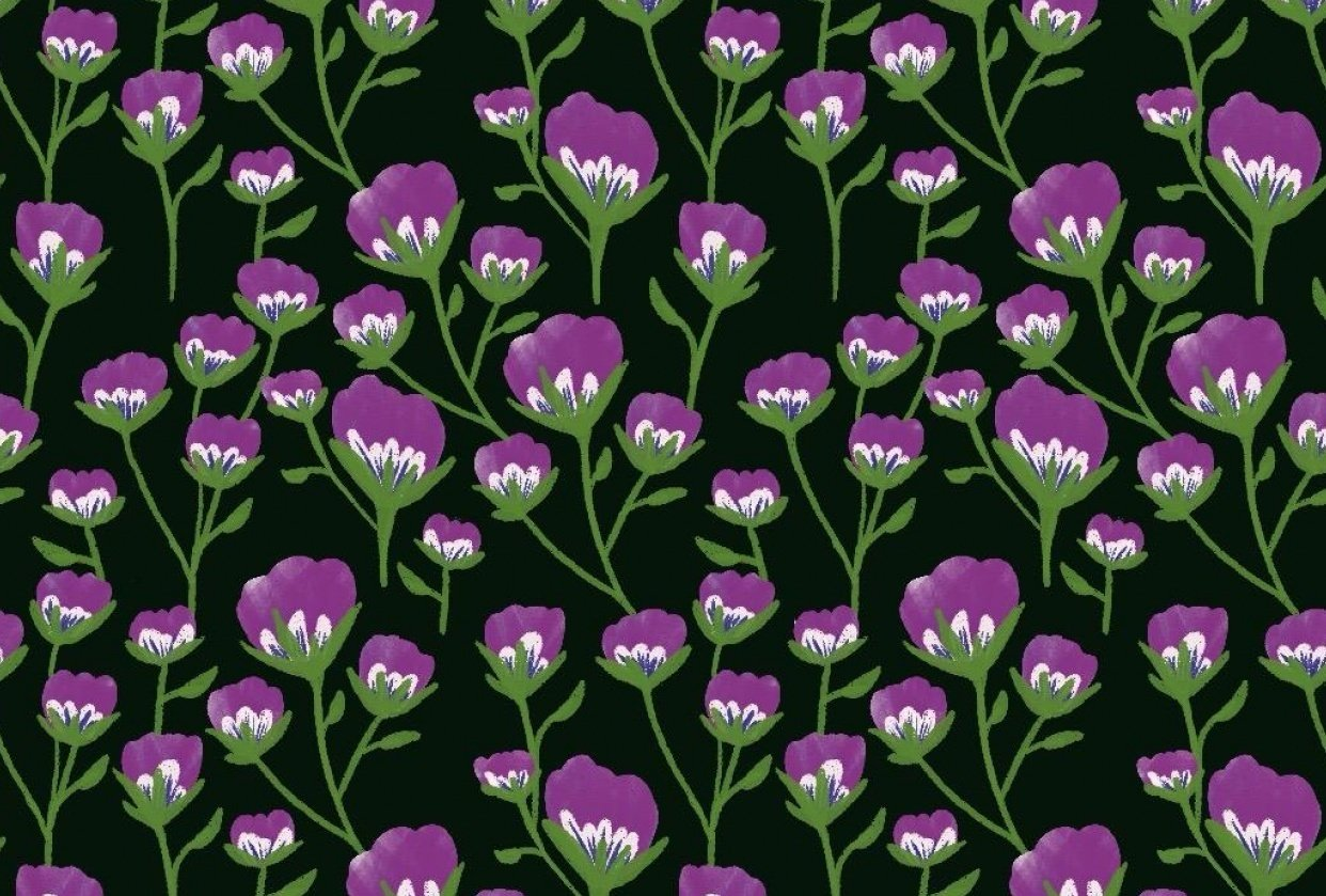 Purple Floral Pattern - student project