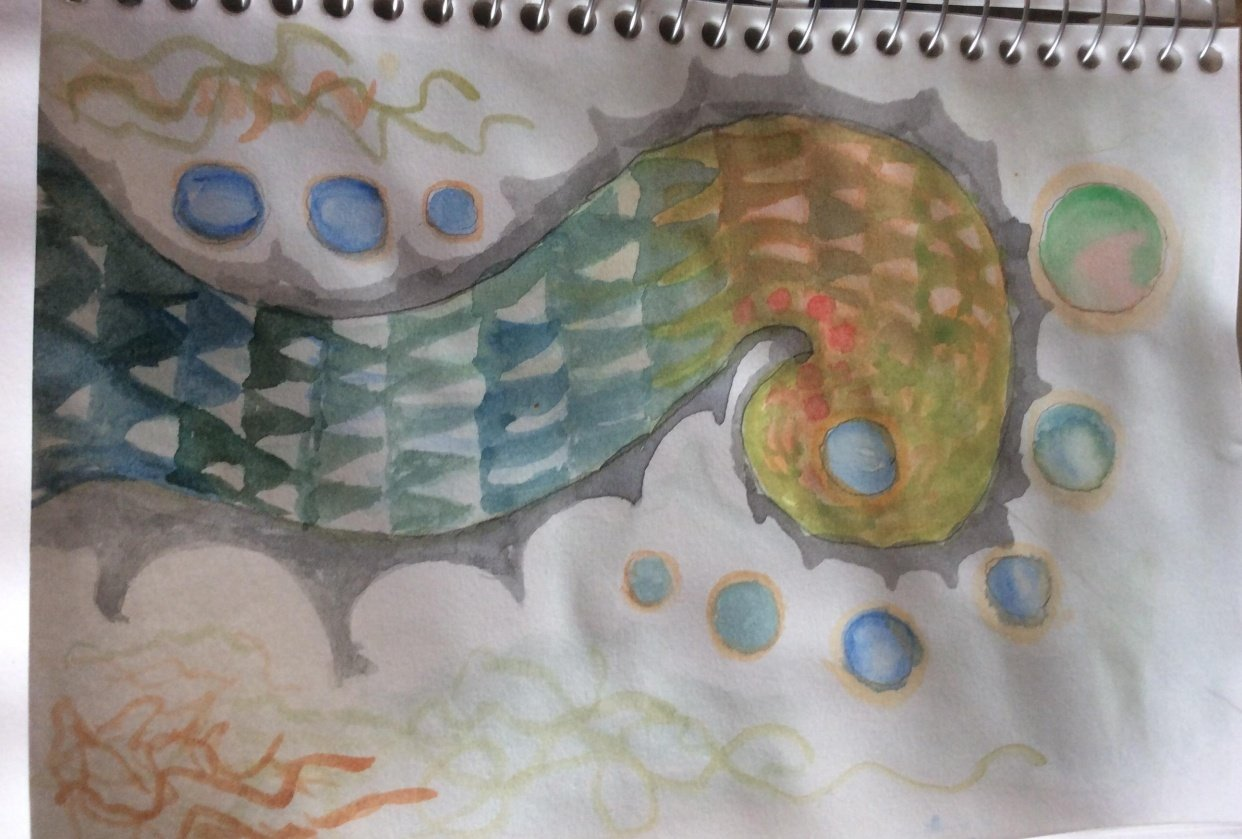 Abstract - watercolor planned process - student project