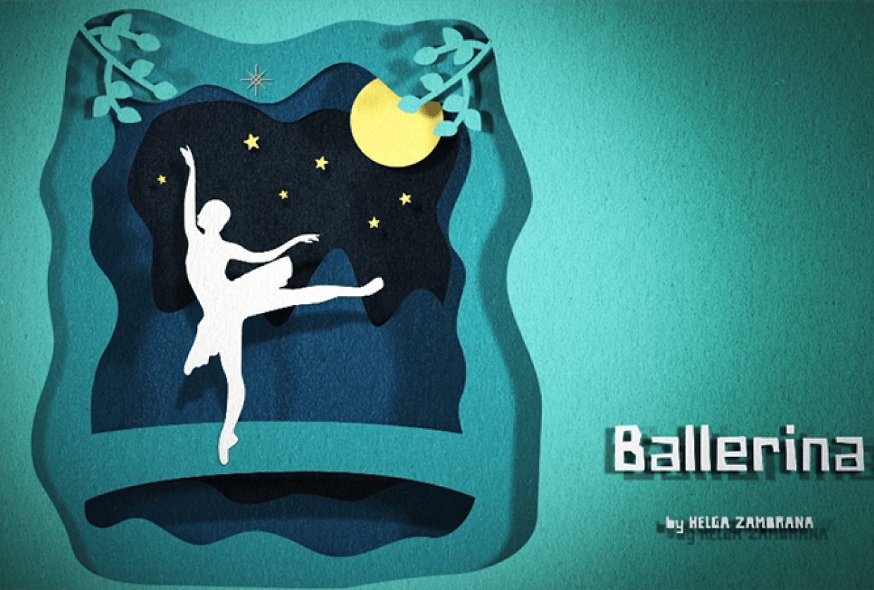 Paper Cut-Out Style Ballerina - student project