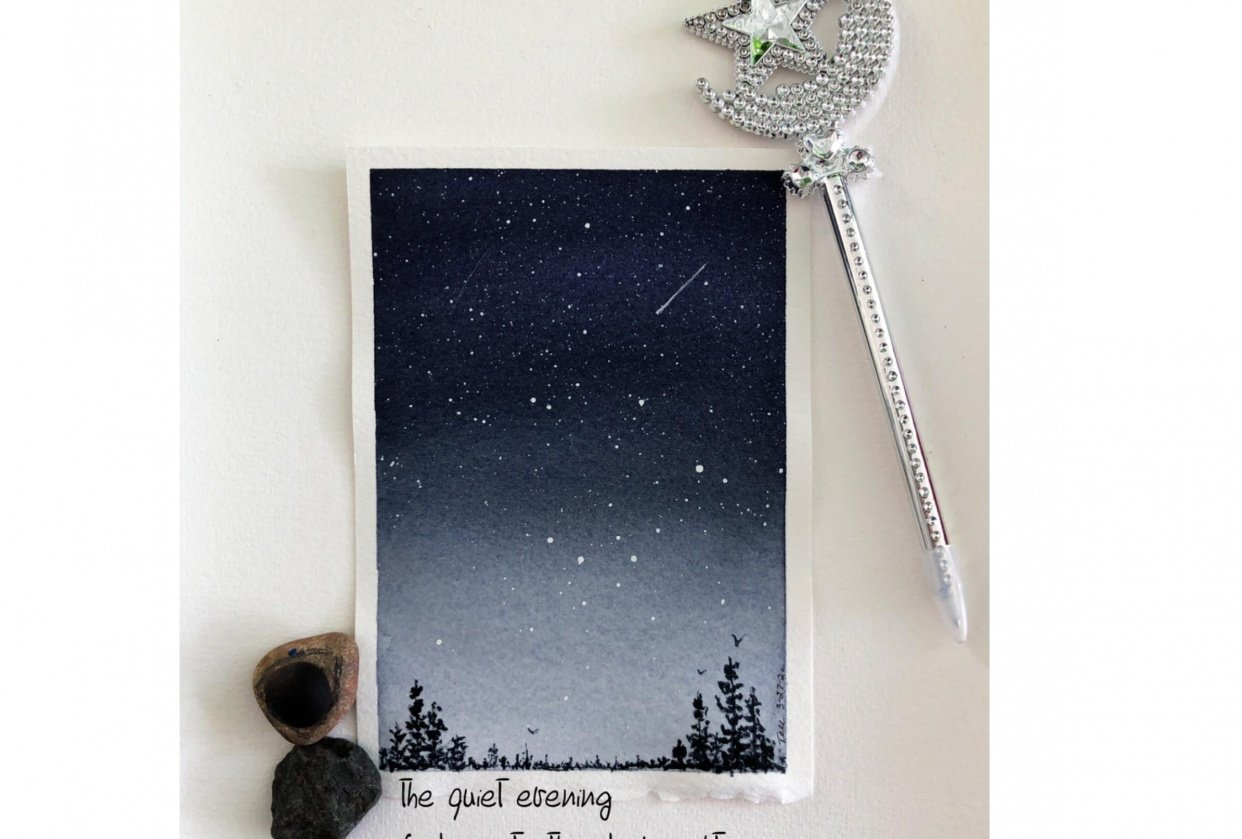 Classic night, Twilight night sky, Textured sky and Galaxy with printing - student project