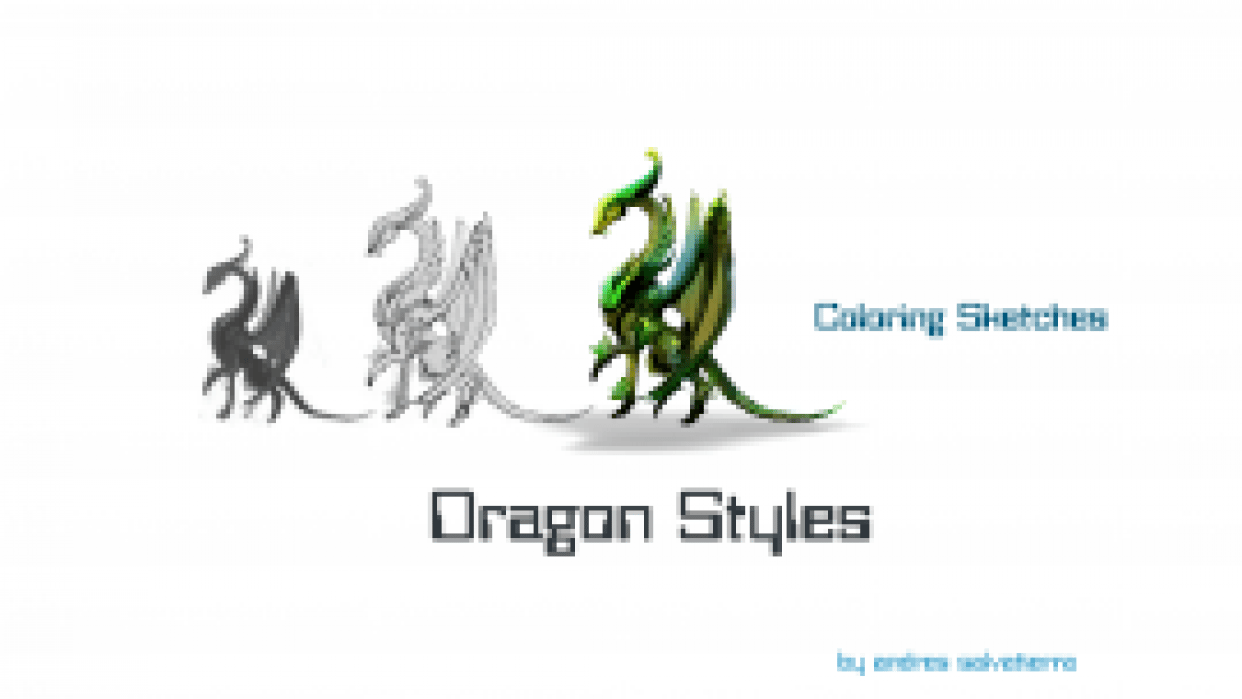 Concept Art: Dragon types - Colouring sketches  - student project