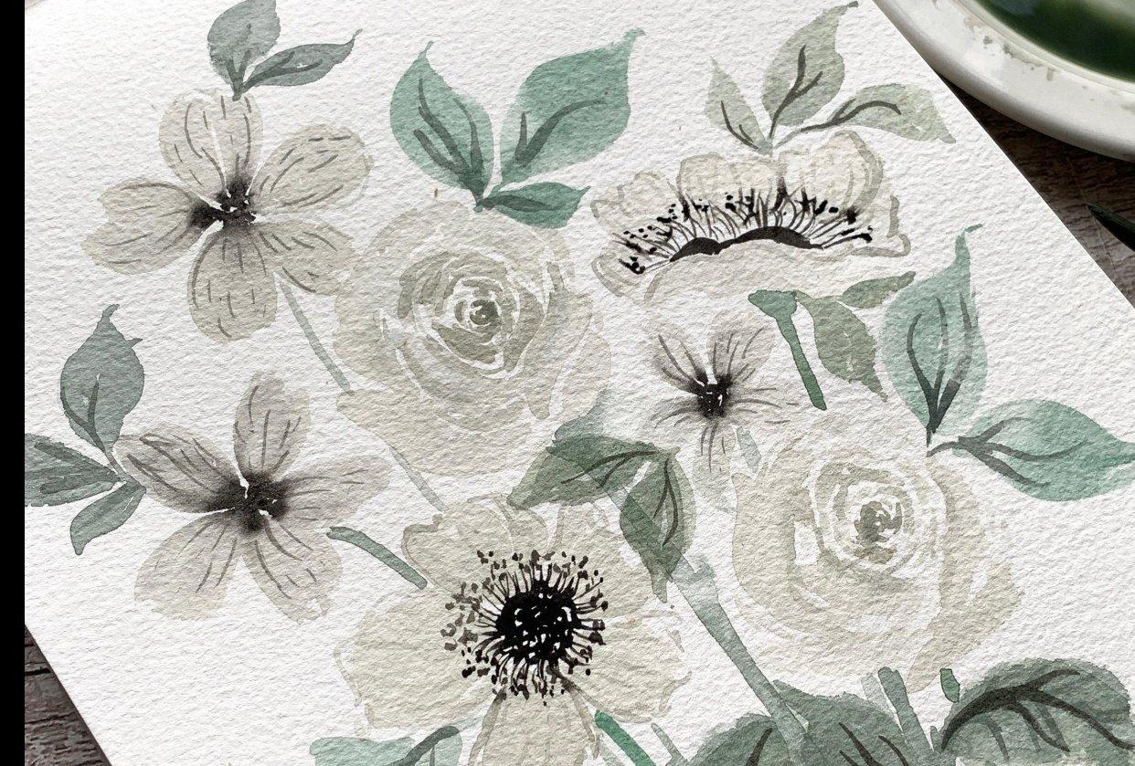 Pretty White Watercolour Florals - student project