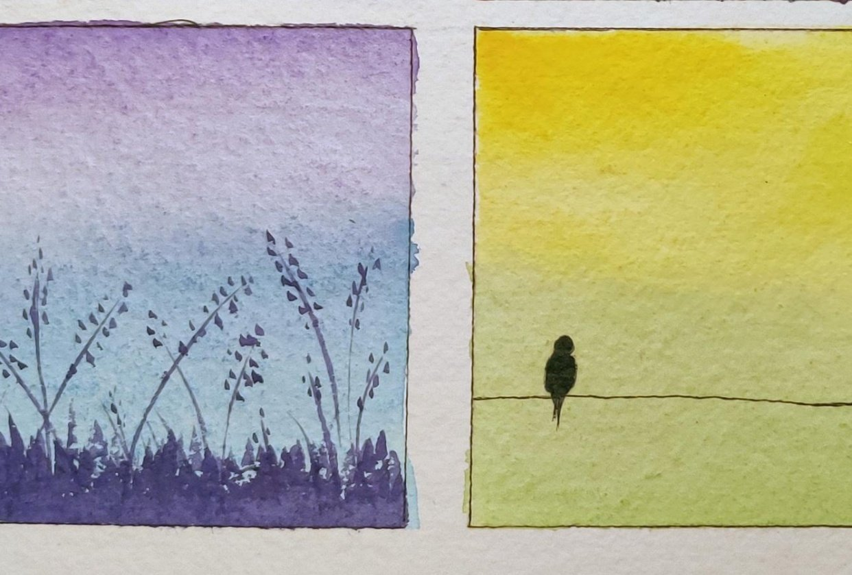 Watercolor Mini Paintings - Composition and Elements - student project