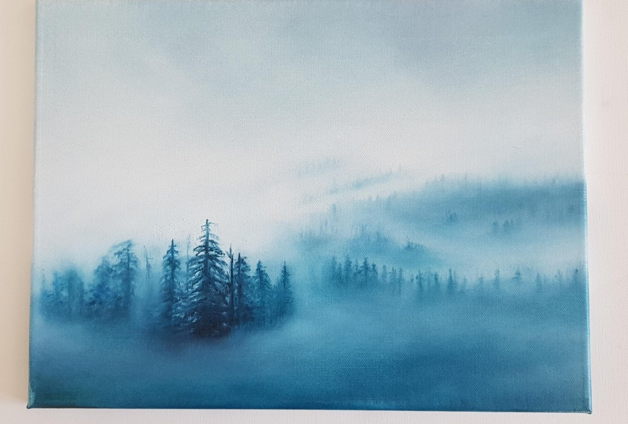 Practising brushstrokes Misty Forest - student project