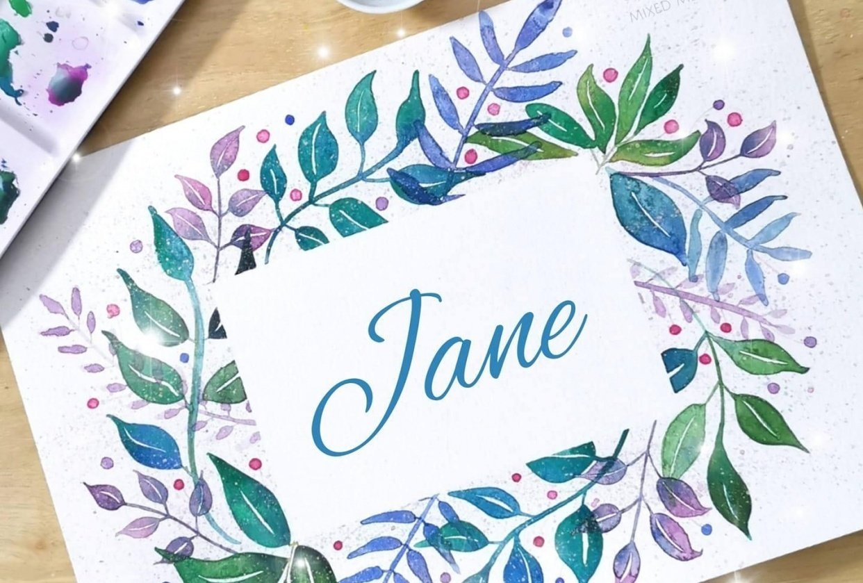 Loose Watercolor Leaves - Fun and Easy Way to Paint a Botanical Frame - student project