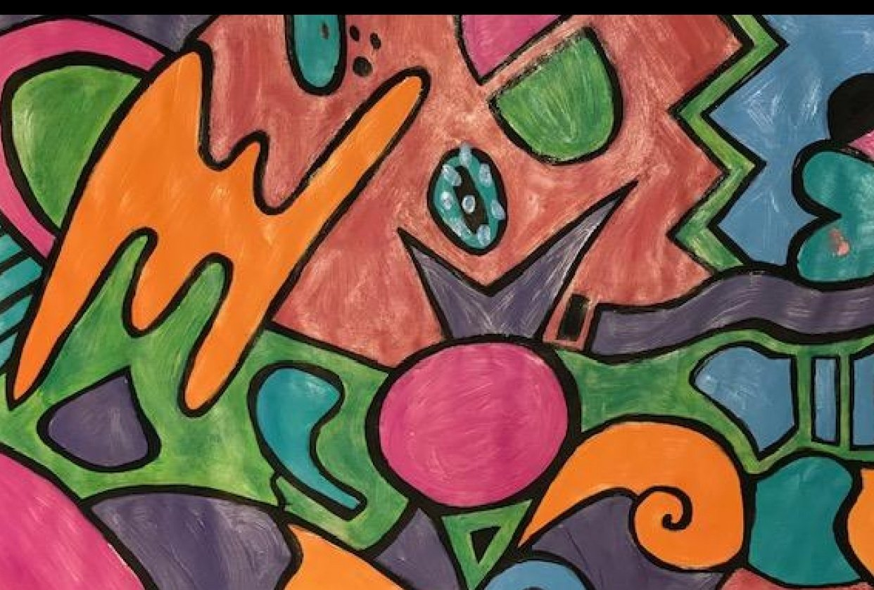 My first attempt at abstract painting - just for fun! - student project