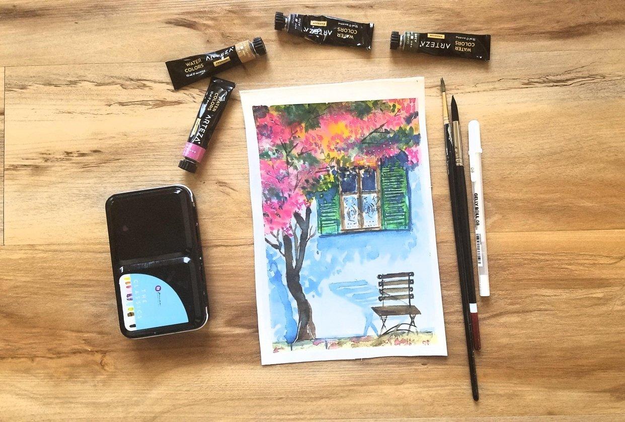 Watercolor Urban Landscape - student project