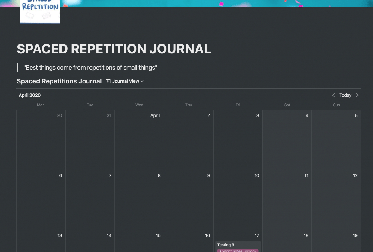 Spaced Repetition Journal - student project