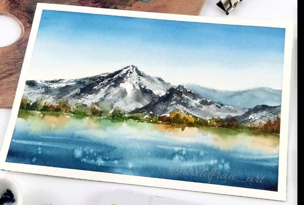 Watercolor landscape reflection - student project
