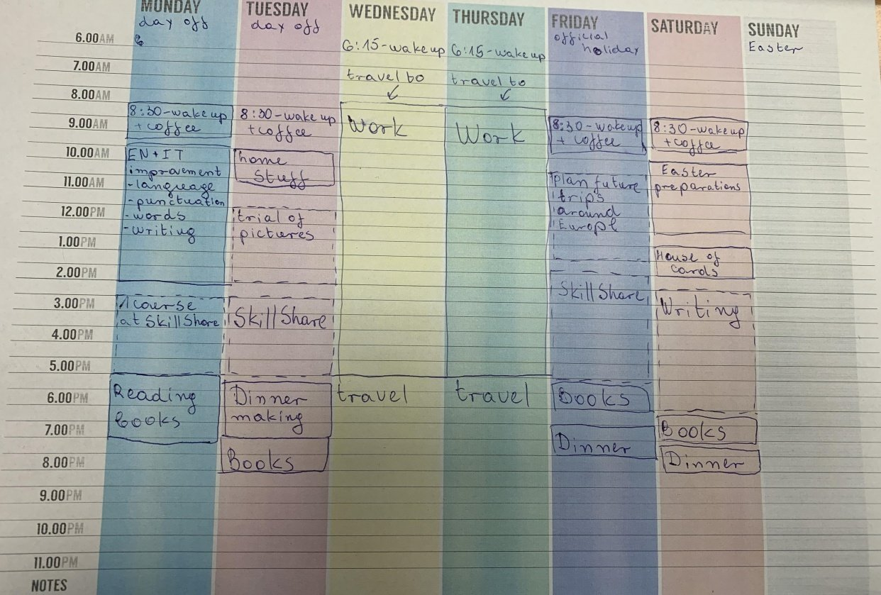 Schedule for last week - student project