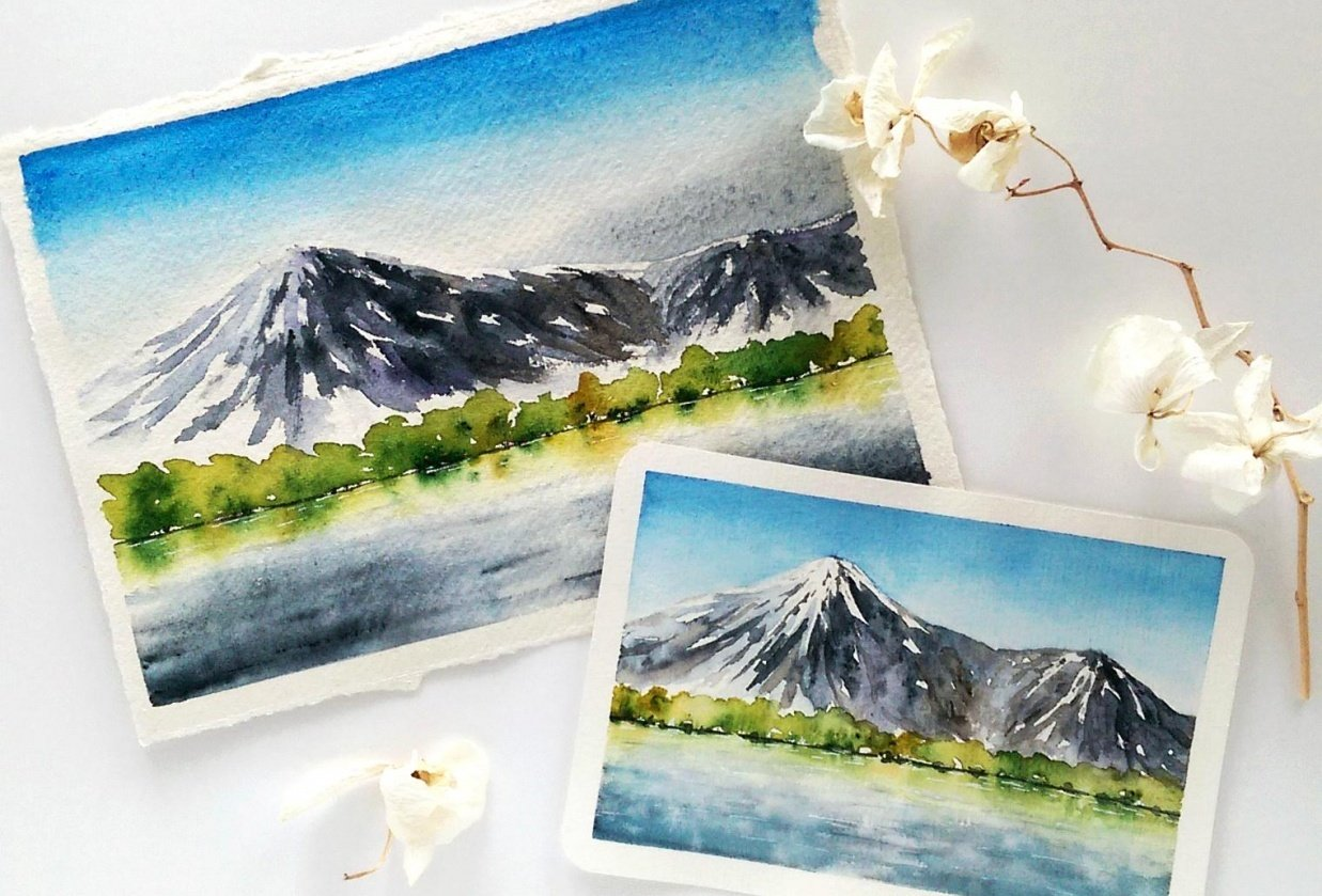 Watercolor mountainscapes - student project