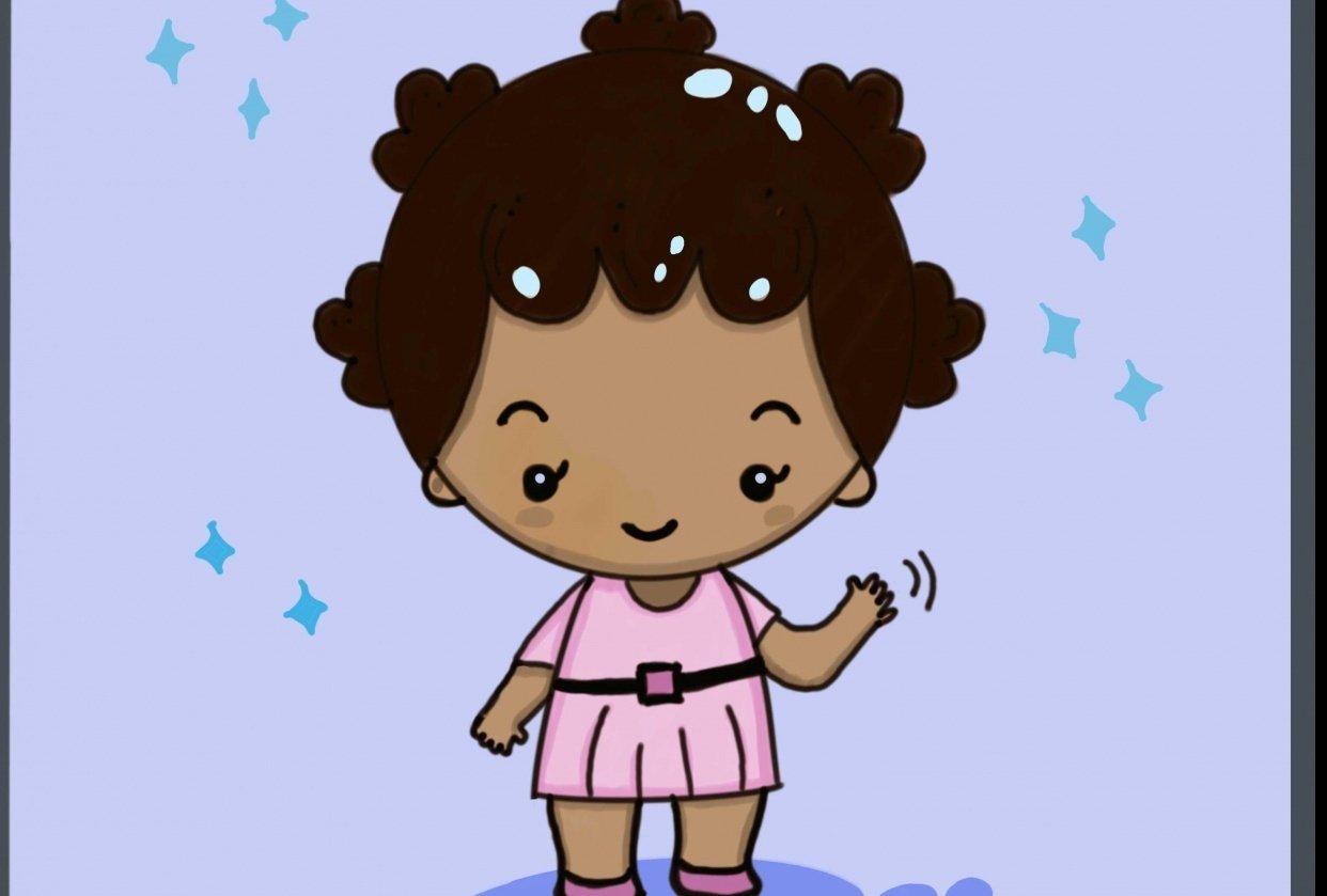 Kawaii African girl - student project