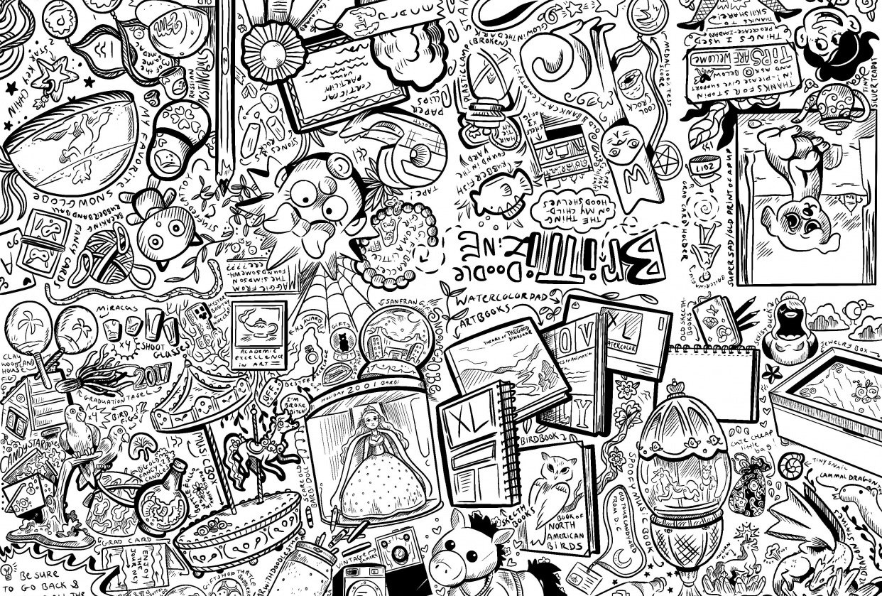 My First Zine: Doodles of Britts Shelf - student project