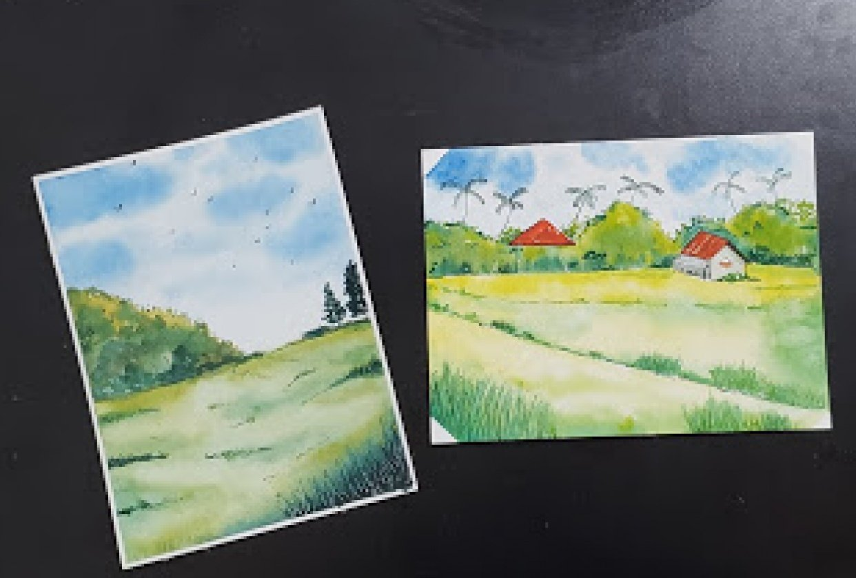 Green watercolor landscapes - student project