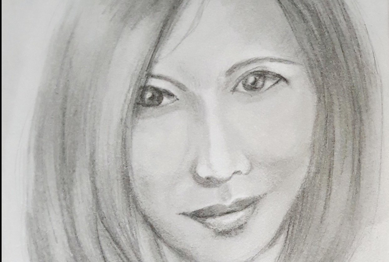 Pencil Portrait with improvised materials - student project