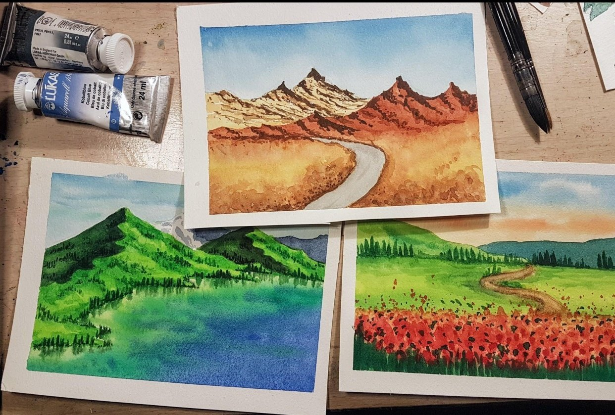 Watercolor Landscapes - student project