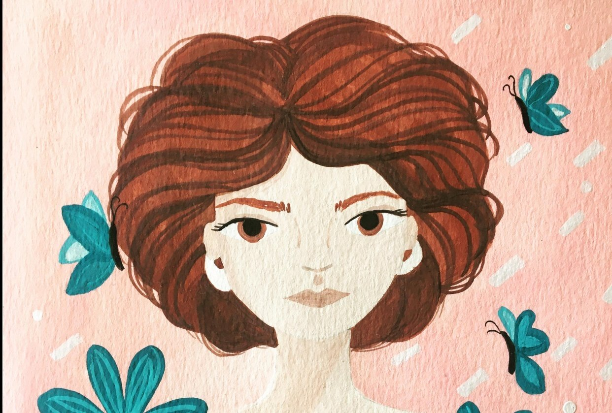 portrait with gouache - student project