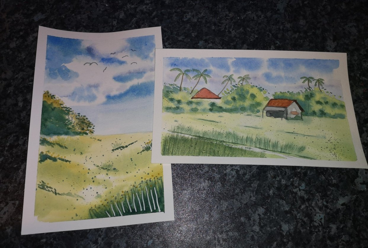 Green Watercolour Landscapes - student project
