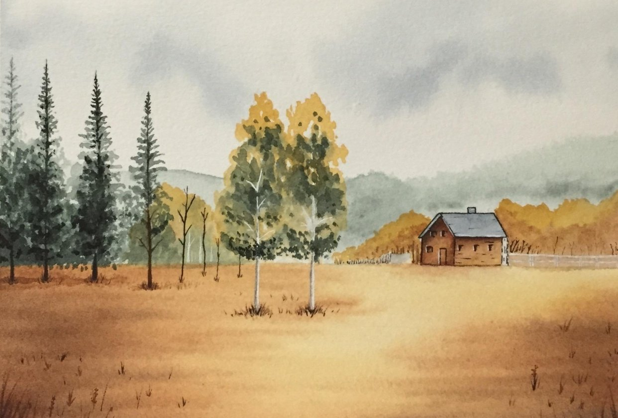 Painting a Landscape in Watercolour - student project