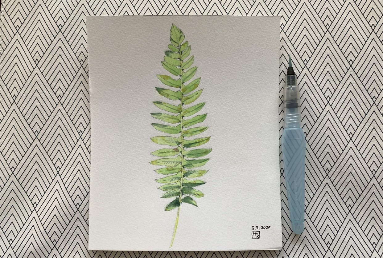 mushroom and fern painting - student project