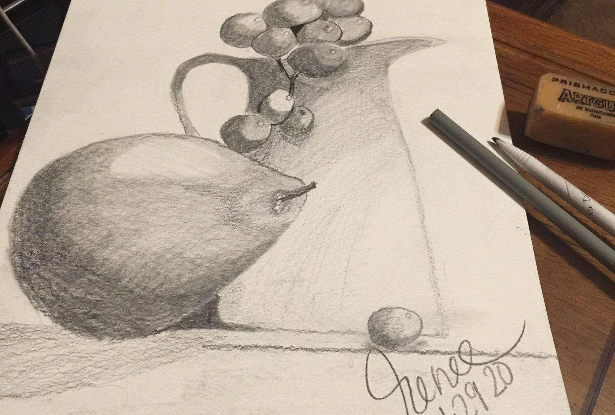Pitcher & Grapes Still Life - student project