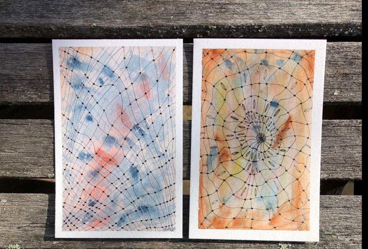 Doodle Art Meets Watercolor - student project