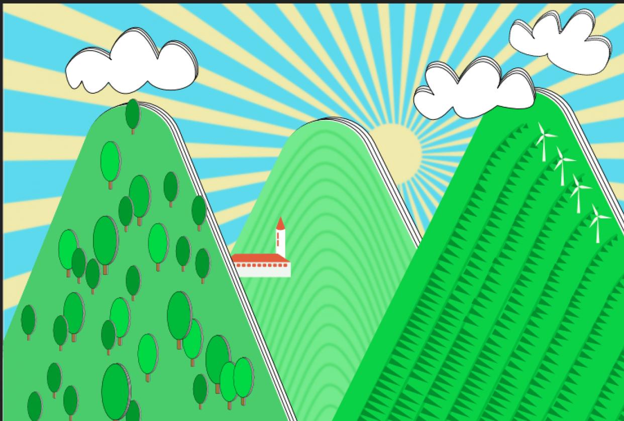 Retro Landscape - student project