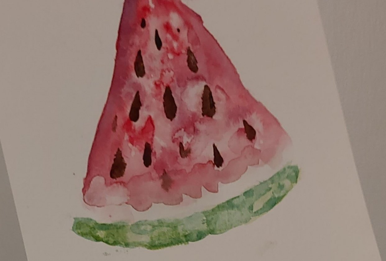 Watermelon Watercolor - student project