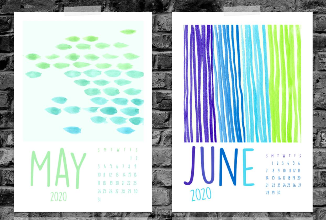 2020 Watercolor Calendar - student project