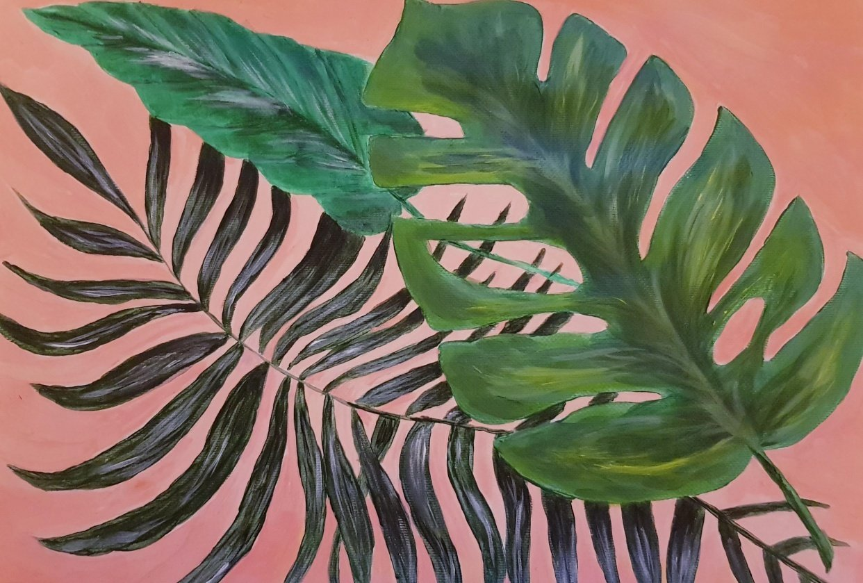 Acrylic Palm Leaves - student project