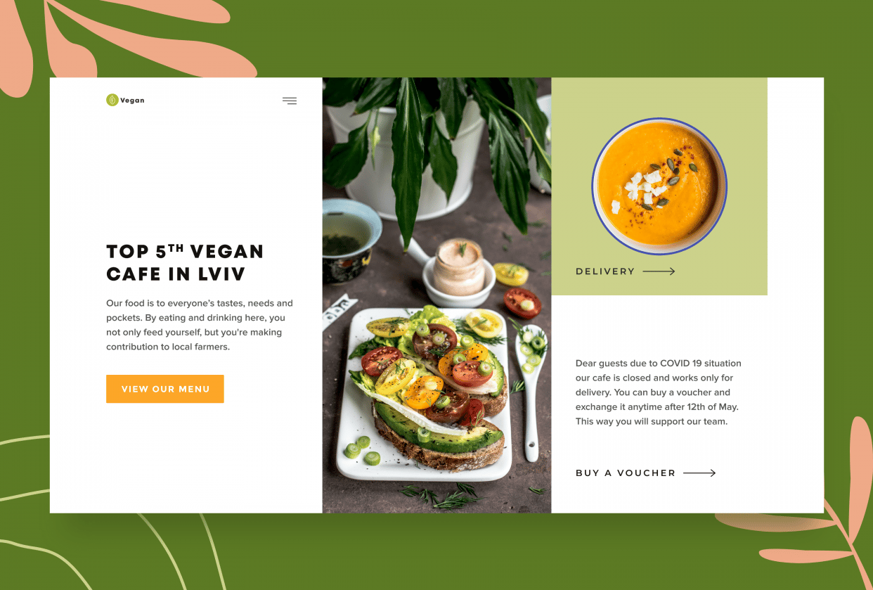 Vegan cafe landing page - student project