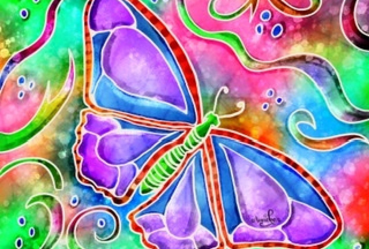 Psychedelic turtle & butterfly - student project