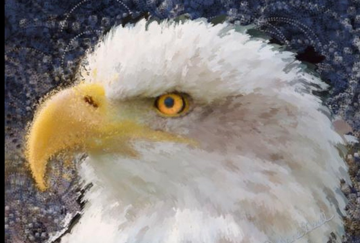 Eagle painted with PS Art History Brush - student project