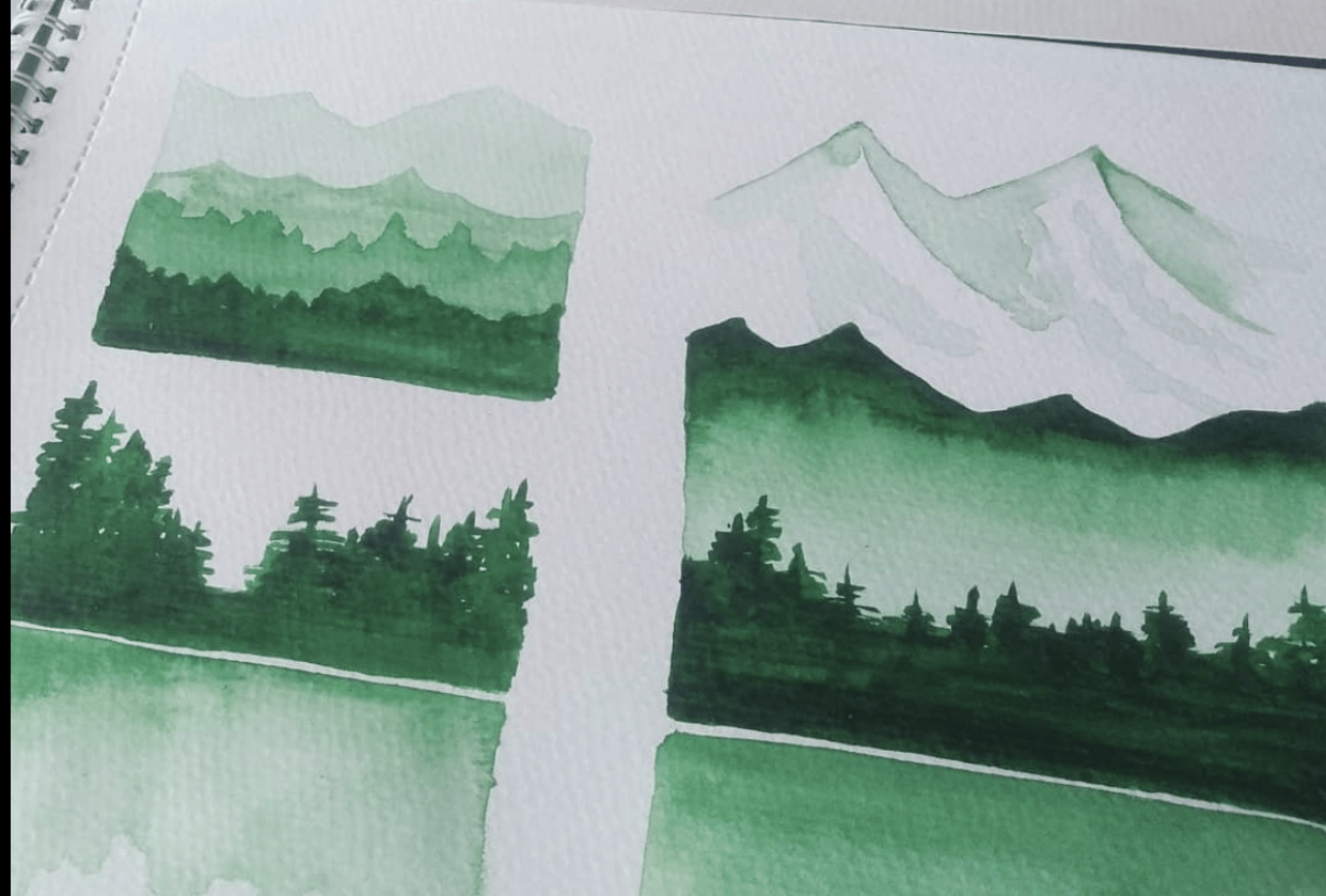 monochromatic watercolour swatches - student project
