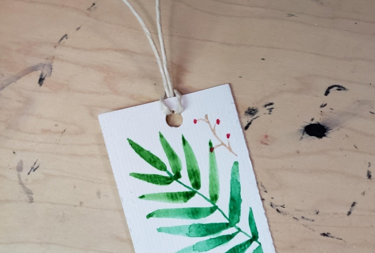 Leafy Watercolour Bookmark - student project