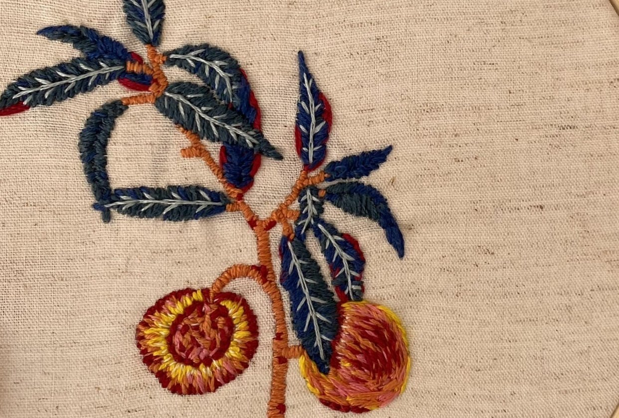 Embroidered peaches - student project