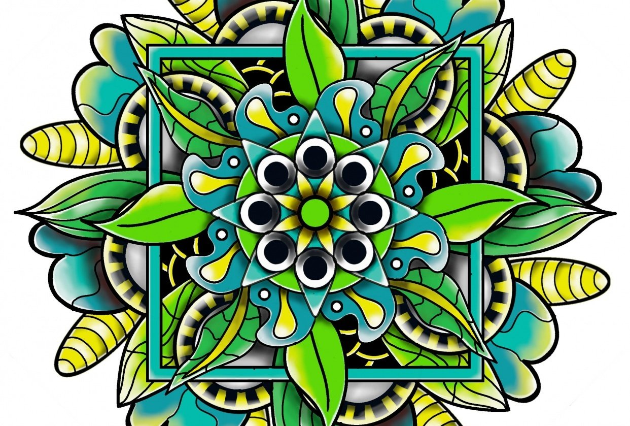 Mandala in blue green and yellow - student project