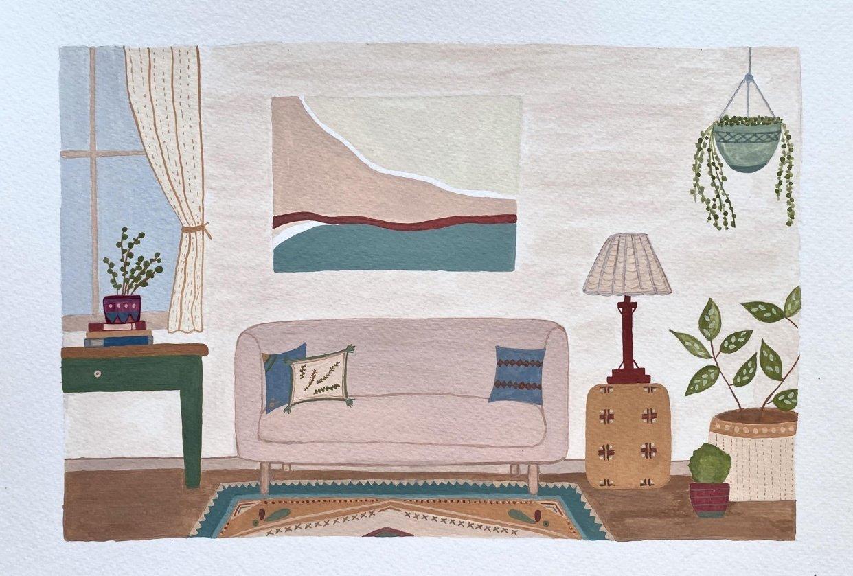Watercolor & Gouache Sunlit Room - student project