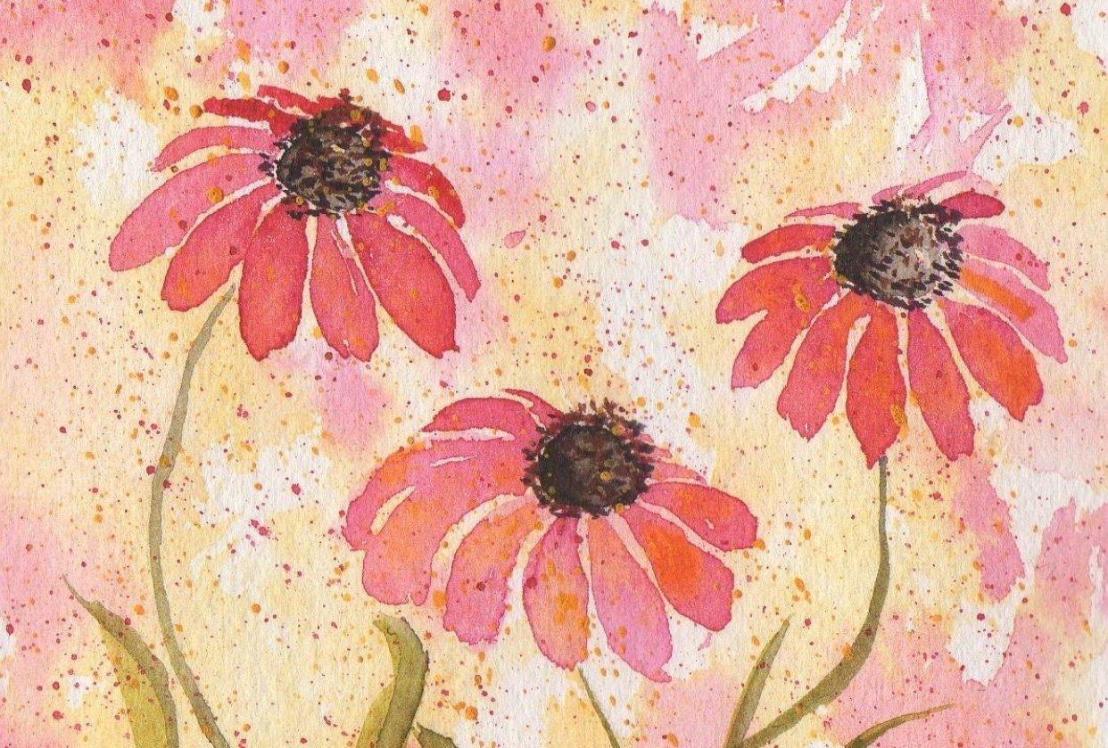 Expressive Watercolor Florals - student project