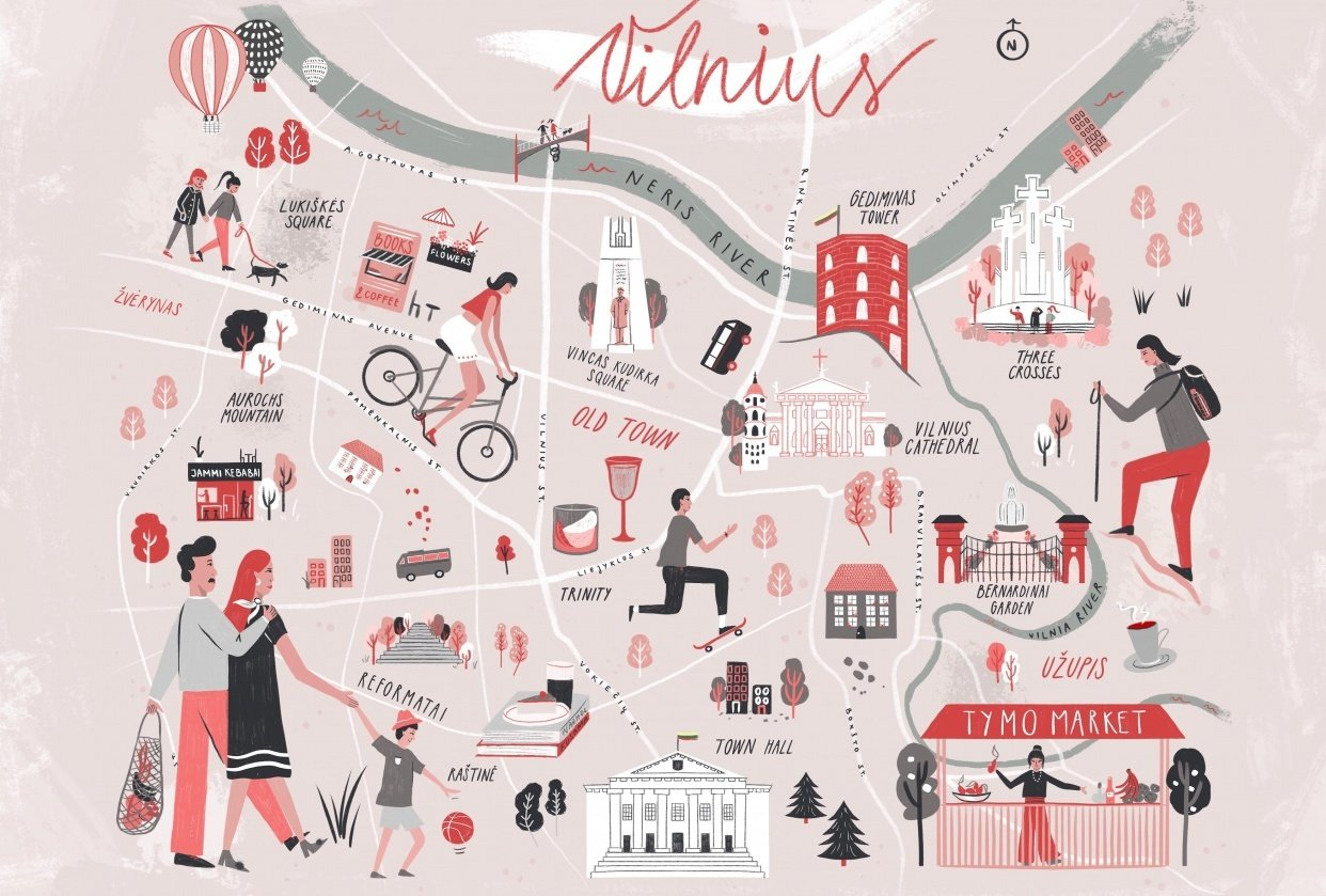 Vilnius, Lithuania - Illustrated map - student project