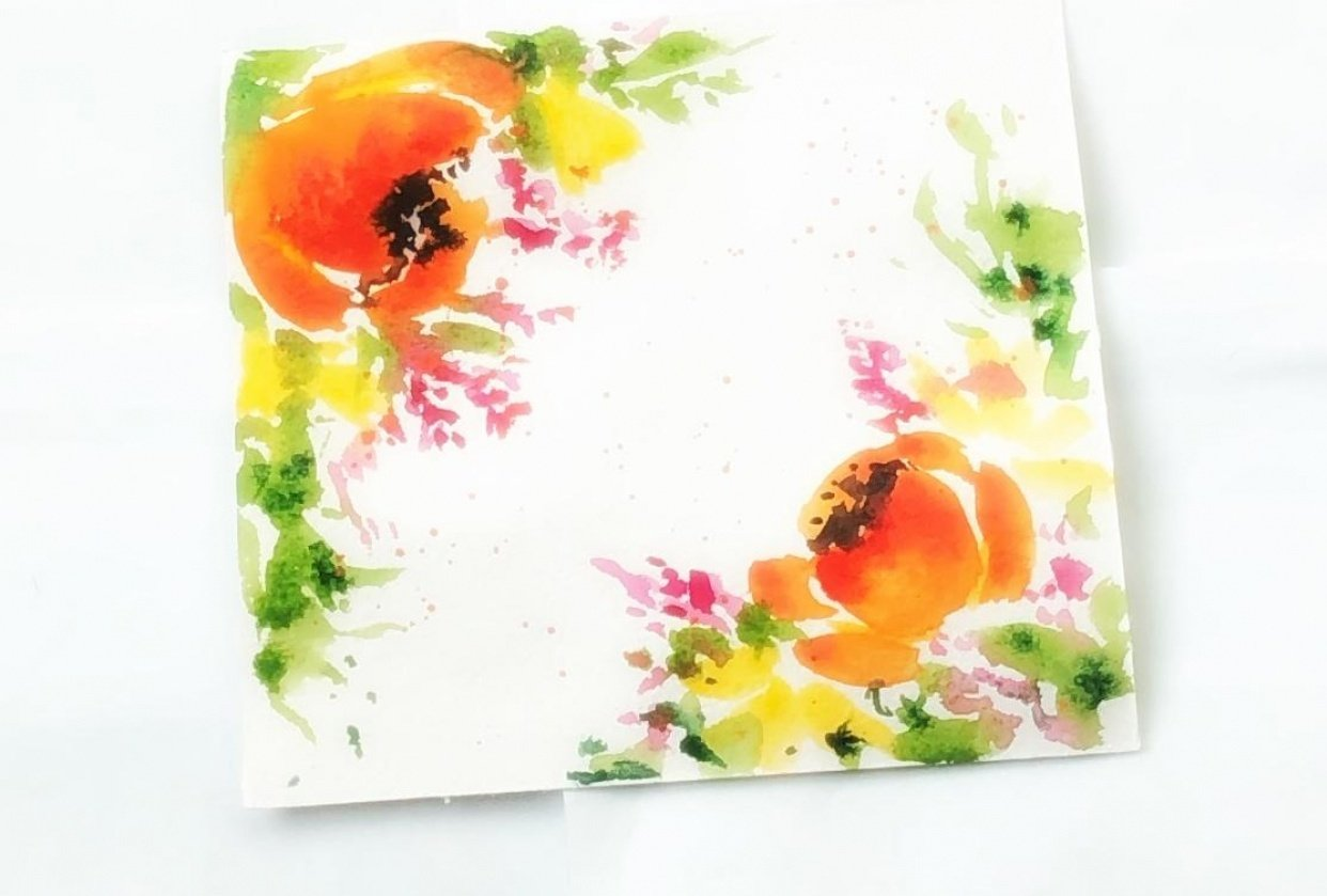 Watercolor blooming borders - student project