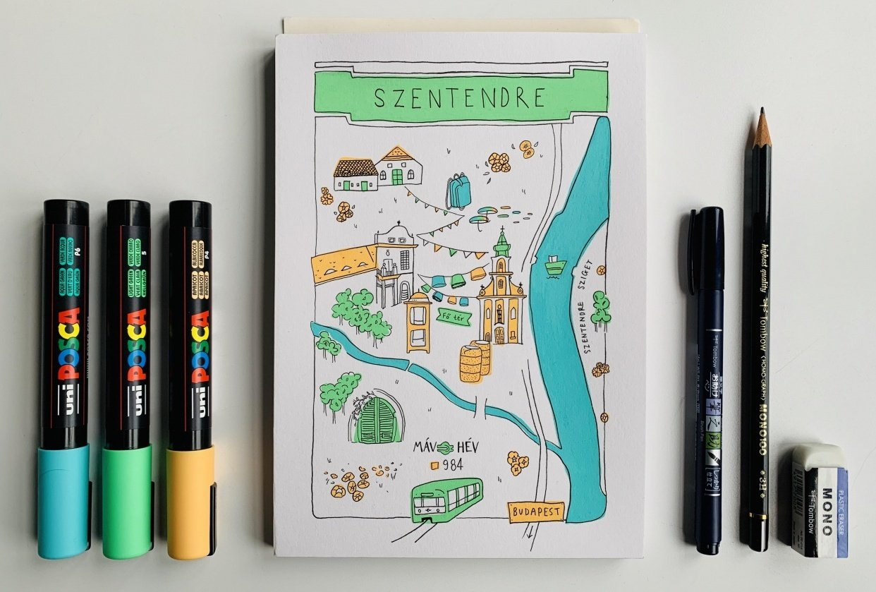 Map of Szentendre, Hungary - student project